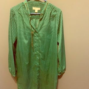 Michael Kors Shirt Dress. Green Print with Gold